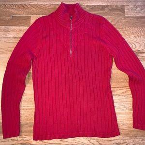 Red mock neck zip sweater